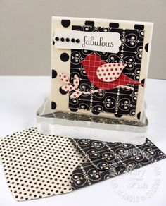 two step bird in red patterned paper witn black and white patterned background...