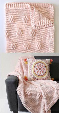 Free Pattern - Crochet Velvet Flowers Blanket - Crochet and Knitting Patterns Crochet Blanket Patterns, Baby Blanket Crochet, Knitting Patterns, Crochet Blankets, Crochet Afghans, Knitting Ideas, Crochet Puff Flower, Crochet Flowers, Crochet Crafts
