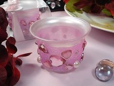 Pink Bling Tealight Candle Holder