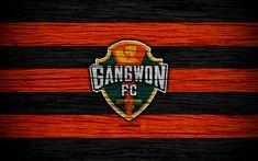 Download wallpapers Gangwon FC, 4k, K League 1, South Korean Football Club, logo, wooden texture, black and red lines, emblem, Gangwon-do, South Korea, football