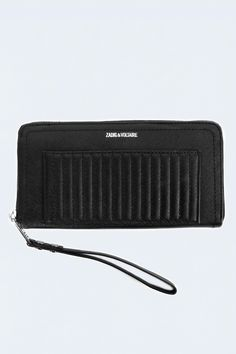 Zadig et Voltaire zipped wallet, quilted, large opening with a zipped inside pocket and several compartments for convenience, Zadig et Voltaire inscription on the front, width 19cm, height 10,5cm, depth 2,5cm, 100% saffiano leather, with lining thick and resistant cotton twill.