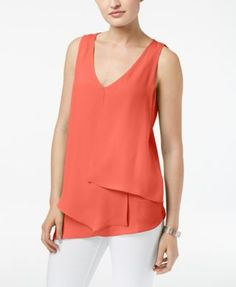 NY Collection Petite Inverted-Pleat Asymmetrical-Hem Top | macys.com
