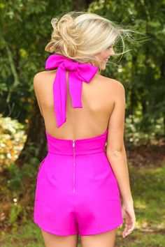 Trophy Wife Romper-Fuchsia - New Today | The Red Dress Boutique