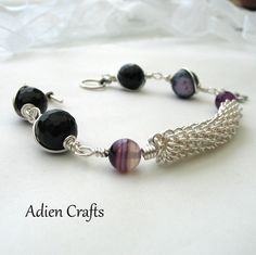 Purple Agate and Coiled Wire Bracelet £14.95 #marmakers