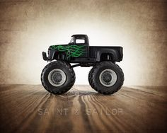Vintage Monster Truck Black Ford with Green Flames,