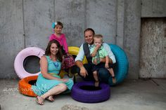Funky and fun family shoot with painted tires.