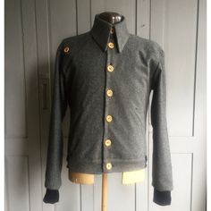 Herringbone wool pointed collar button up winter bomber jacket Ft. wooden buttons, fulling lined interior & ribbed bottom hem **HANDMADE** by thomburton on Etsy Bomber Jacket Winter, Point Collar, Herringbone, Winter Fashion, Menswear, Wool, Trending Outfits, Sweaters, Jackets