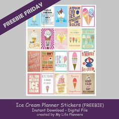 Free Printable Ice Cream Planner Stickers from My Life Planners