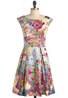 Fantastical Flora Dress - Mid-length, Wedding, Party, Vintage Inspired, Multi, Blue, Pink, Floral, Pleats, A-line, Cap Sleeves, Cocktail, Cotton, Boat, Daytime Party, Fit & Flare  #modcloth #partydress