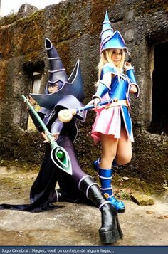 Dark Magician and Dark Magician Girl - well representing Yu-Gi-Oh anime.