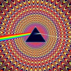 Pulsating Seizure Pink Floyd ~ Dark Side Of The Moon ~ Illusion optical illusion. Stefan this is a whole site that has some wonderful optical illusions. Optical Illusions Pictures, Illusion Pictures, Illusions Mind, Trippy Pictures, Op Art, Art Fractal, Illusion Kunst, Optical Illusion Art, Poster Design