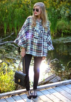Treats and Treasures: Plaid Poncho #mypinkmartini #pmstyle #fall #ootd #love #style