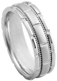 Popular Item Mens Wedding Band White Gold Band by TemptingJewels