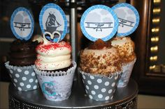 Cup Cakes and decorations for adventure themed boy baby shower