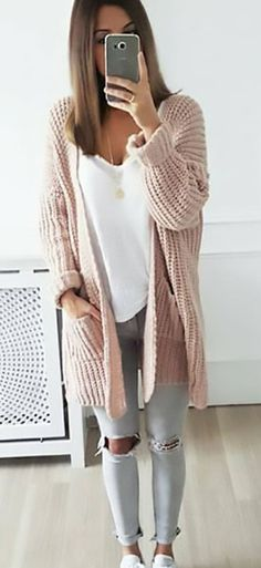 summer outfits Blush Cardigan + White Tank + Grey Destroyed Skinny Jeans