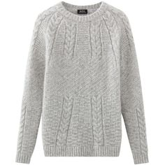 Galway sweater ($370) ❤ liked on Polyvore featuring tops, sweaters, crew top, raglan top, cable-knit sweater, cable knit crew neck sweater and crewneck sweaters