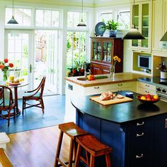 """we could """"bump out"""" our dining area for a breakfast seasons room with slate flooring like this Eat In Kitchen, Open Kitchen, Kitchen Counter Storage, 4 Season Room, Kitchen Breakfast Nooks, Slate Flooring, Christmas Room, Kitchen Design, Kitchen Ideas"""