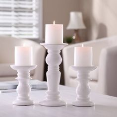 Better Homes and Gardens Ceramic Pillar Candle Holders, Set of 3