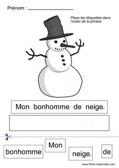 NOEL en MATERNELLE composer la phrase Pour la fete de l ecole nous attendons le pere noel Learning French For Kids, Teaching French, Winter Activities, Preschool Activities, French Worksheets, French Language Lessons, Core French, Grande Section, French Classroom