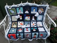 Snowman Square Afghan ~ Inspiration/ Idea only. Afghan made from many different snowman squares.