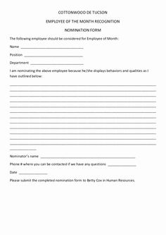 30 Employee Of The Month Form Template In 2020 Recognition