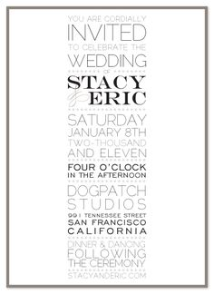 Simple, modern black and white invite