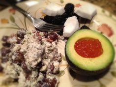 Chicken Salad with Grapes and Pecans, Avocado with Salmon Roe, Berries and Coconut: 6/25/13