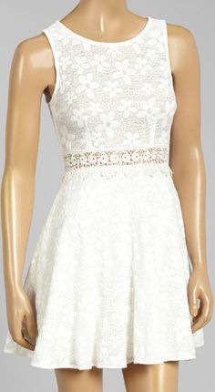 Ivory Floral Jacquard Fit and Flare Dress