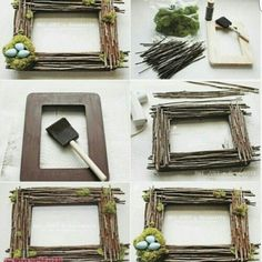 For individuals who need to make a body from dry tree branches, this re . Twig Crafts, Driftwood Crafts, Frame Crafts, Nature Crafts, Diy Home Crafts, Garden Crafts, Diy Frame, Creative Crafts, Tree Branch Crafts