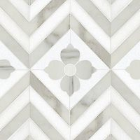 Maharaja 2, a natural stone waterjet mosaic shown in Thassos and honed Calacatta Tia, is part of the Silk Road Collection by Sara Baldwin for New Ravenna Mosaics. <br /> <br /> Take the next step: prices, samples and design help, http://www.newravenna.com/showrooms/