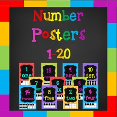 If you are looking to brighten up your classroom then these number posters are for you! This pack contains 20 colorful number posters for the numbers 1-20 for you to print and display in your classroom. Each poster contains the number, the word, and a tens frame depicting that number. The first 10 pages can be downloaded for