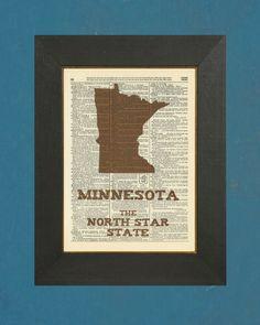 "Minnesota The North Star State - Dictionary State Art Print 8"" X 11"". $7.00, via Etsy."