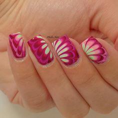 Instagram @Kells_Hotz #nails #makeup #fashion #glitter #gold #rhinestone #watermarble #pink #green #chinaglaze