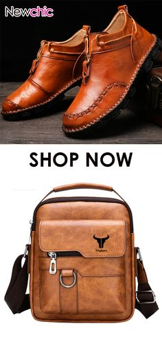 Non Slip Large Size Soft Sole Casual Boots Leather Business Travel Shoulder Bag Slip Casual Boots, Gym Wear, Business Travel, Travel Bags, Leather Boots, Nike Air Max, Men's Boots, Satchel, Footwear