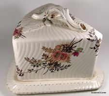 cheese dome | Antique 19thC Royal Bonn Mehlem Floral Cheese Dome