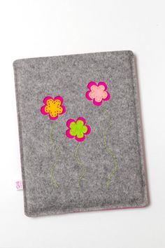 iPad case or cover in natural grey felt with flower design GARDEN. €29,50, via Etsy.