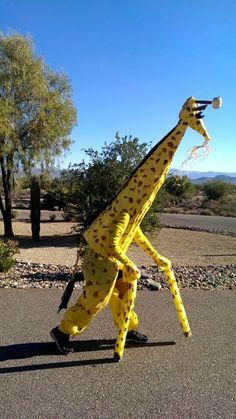 Cute no sew giraffe costume pinterest giraffe costume giraffe diy giraffe halloween costume plastic table cloth pants braided yarn tail tomatoe cage with ducktape neck solutioingenieria Images