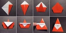 DIY ideas and tutorials - Origami Santa DIY Ideen und Tutorials - Origami Santa Origami Diy, Origami Modular, Origami And Kirigami, Origami Folding, Origami Design, Origami Paper, Diy Paper, Paper Crafting, Origami Ideas