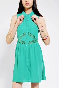 Pins And Needles Lace Inset Shirtdress #urbanoutfitters