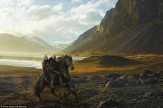 Surreal shot: The Moncler shoot captures the stunning Icelandic scenery...