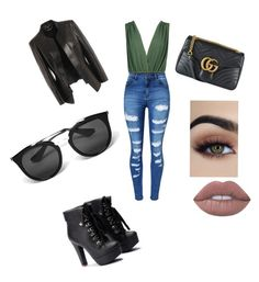 """""""GIRLS NIGHT OUT"""" by raeganholland ❤ liked on Polyvore featuring Boohoo, WithChic, Alexander McQueen, Gucci and Prada"""