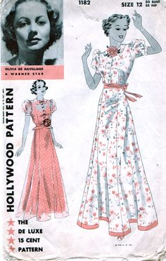 Hollywood 1182; ca. 1933; Evening Frock. Evening Frock with or without tiny flared peplum. Six gored flared skirt joins bodice under belt. Blouse buttons down front below Peter Pan collar. Has short puff sleeves. Applied facing at lower edge of skirt is optional. Featuring Olivia de Haviland - a Warner Star - on the front cover