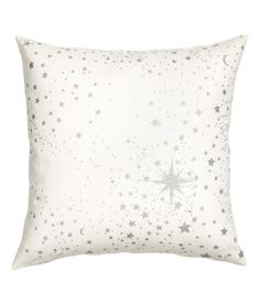 Check this out! Cotton canvas cushion cover with a glittery, printed star pattern at front and a solid-color back section. Concealed zip. - Visit hm.com to see more.