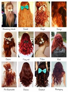Red Hair Color Chart Lovetoknow – Natural Red Hair Color Chart - All For New Hairstyles Hair Color Names, Shades Of Red Hair, 50 Shades, Orange Shades, Natural Red Hair, Corte Y Color, Strawberry Blonde, Ginger Hair, Hair Dos