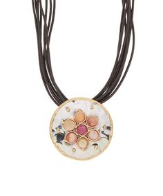 Look at this #zulilyfind! Agate & Tri-Tone Ina Leather Pendant Necklace #zulilyfinds