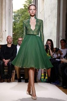 I think this is the third green lace dress i've pinned! Georges Hobeika Fall Winter Couture 2012 Paris.