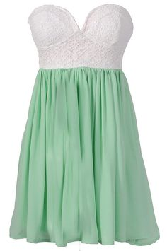 Strapless mint dress