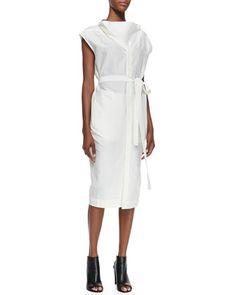 Oversize-Neck Belted Shirtdress by Rick Owens at Bergdorf Goodman.