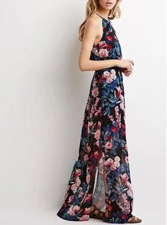 Women's Vintage Halter Dress - Floral Maxi / Spaghetti Straps / Cinched Waist / Side Split