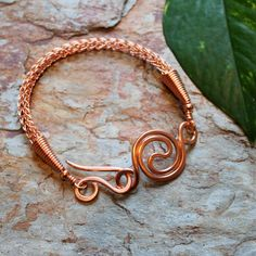 Viking knit bracelet with Spiral link Copper by Abbyjewellery